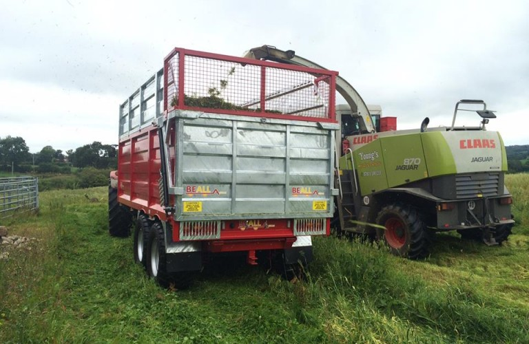 Trailer easily filled from harvester spout