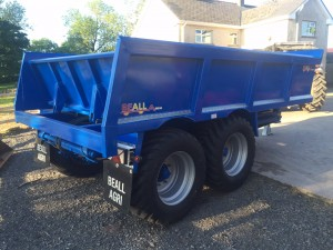 15T dump trailer on floatation tyres